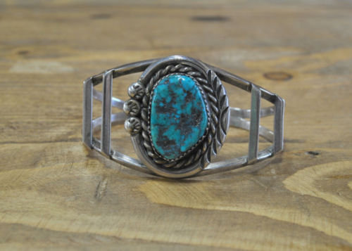 Vintage Navajo Sterling Silver Turquoise Cuff