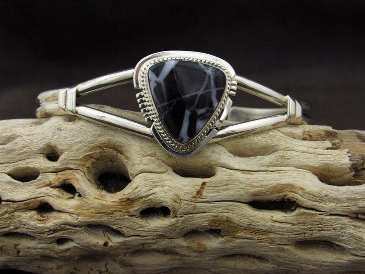 Southwestern Sterling Silver Triangular White Lightning Cuff Bracelet