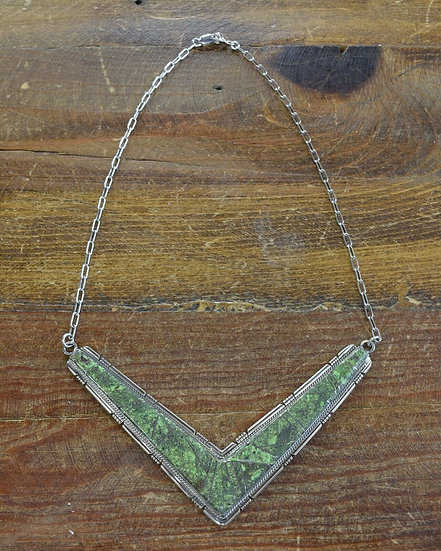 Southwestern Sterling Silver Gaspeite Inlay Necklace