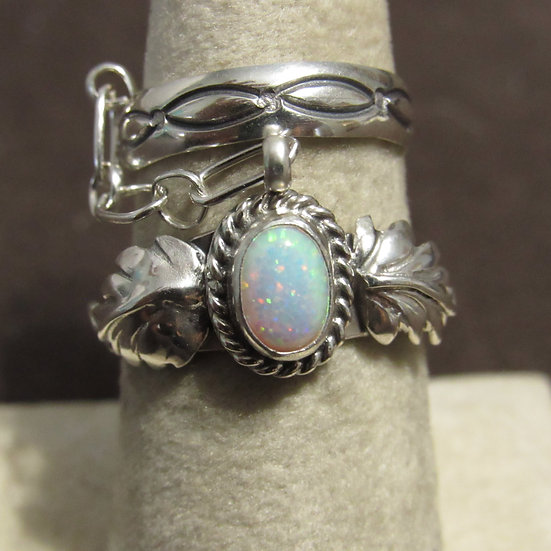 Navajo Thomas Yazzie Sterling Silver and Lab Opal Double Ring Size 7.75