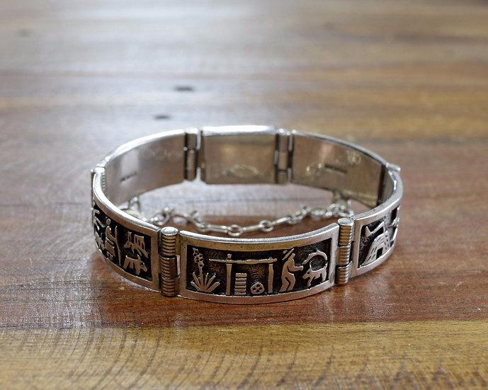 Southwest Sterling Silver Storyteller Link Bracelet