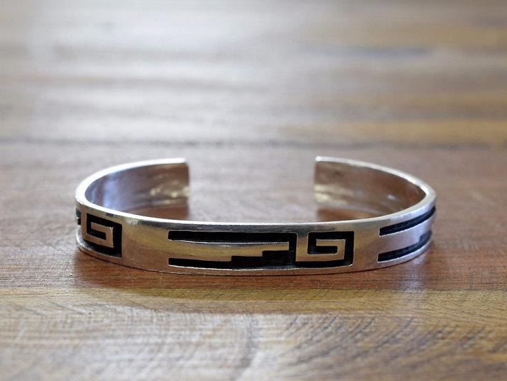 Vintage Hopi Geometric Overlay Sterling Silver Cuff Bracelet by Michael Sockyma