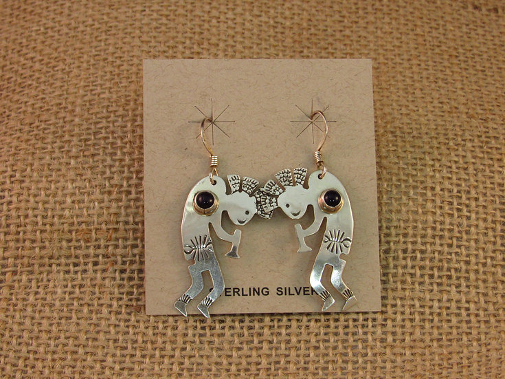 Navajo Onyx Kokopelli Sterling Silver Dangle Earrings