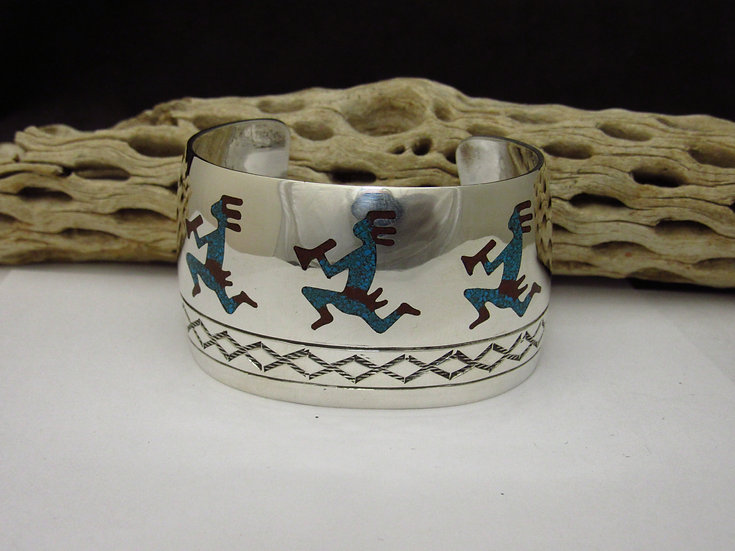 Wide Sterling Silver Coral and Turquoise Chip Inlay Kokopelli Cuff Bracelet