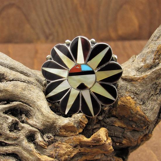 Southwest Sterling Silver Inlaid Sun Kachina Mask Pin/Pendant