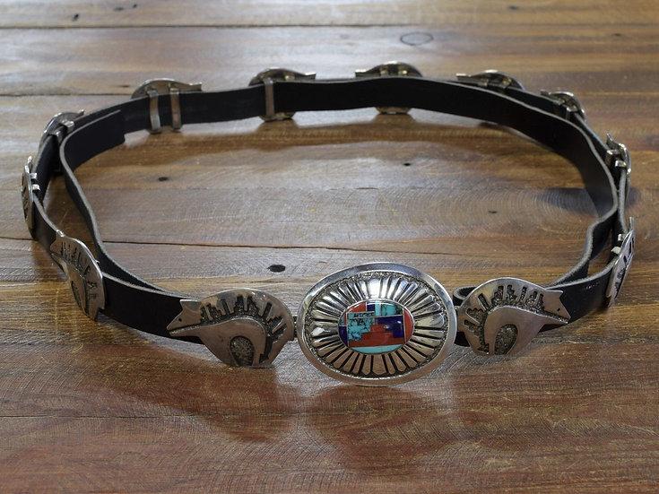 Vintage Sterling Silver Navajo Bear Concho Belt