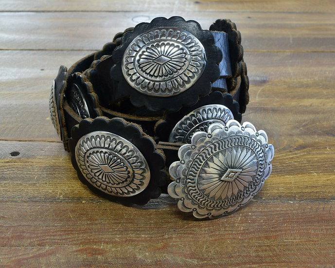 Vintage Sterling Silver and Leather Concho Belt