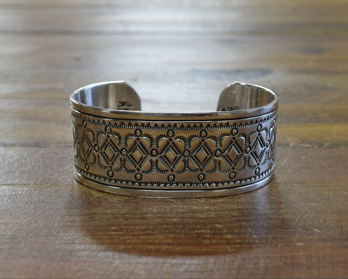 Navajo Stamped Sterling Silver Cuff Bracelet by Gilbert Begay