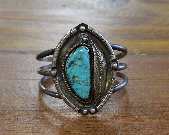 Vintage Southwest Sterling Silver and Turquoise Cuff Bracelet