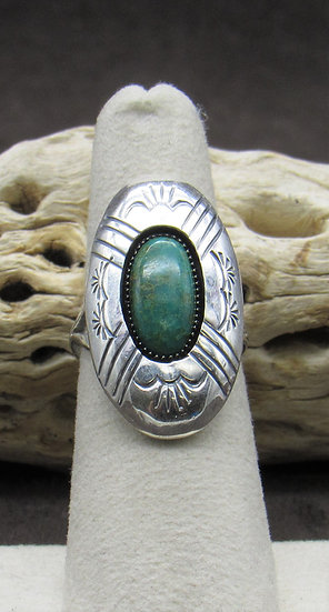 Turquoise and Sterling Silver Ring by Renelle Perry Size 6 1/4