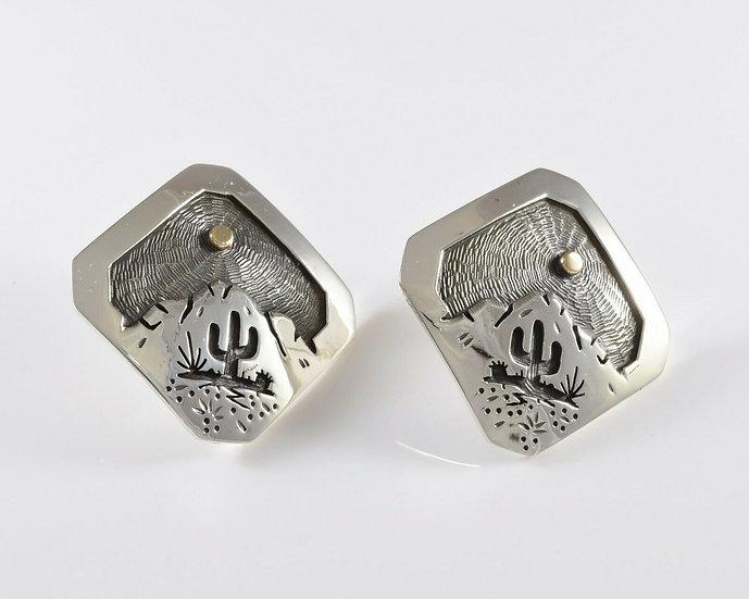 Saguaro Desert Scene Sterling Silver Overlay Post Earrings by Rick Manuel