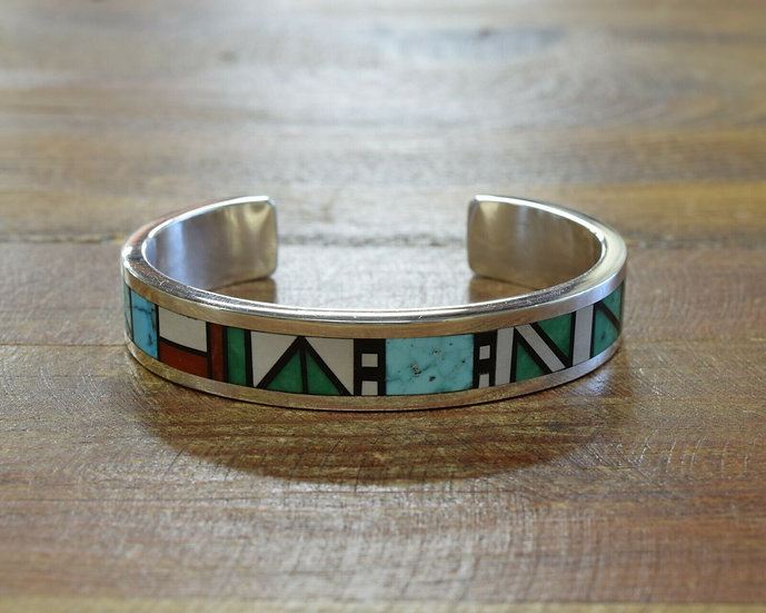 Sterling Silver Multi Stone Inlay Cuff Bracelet by Tim Yazzie