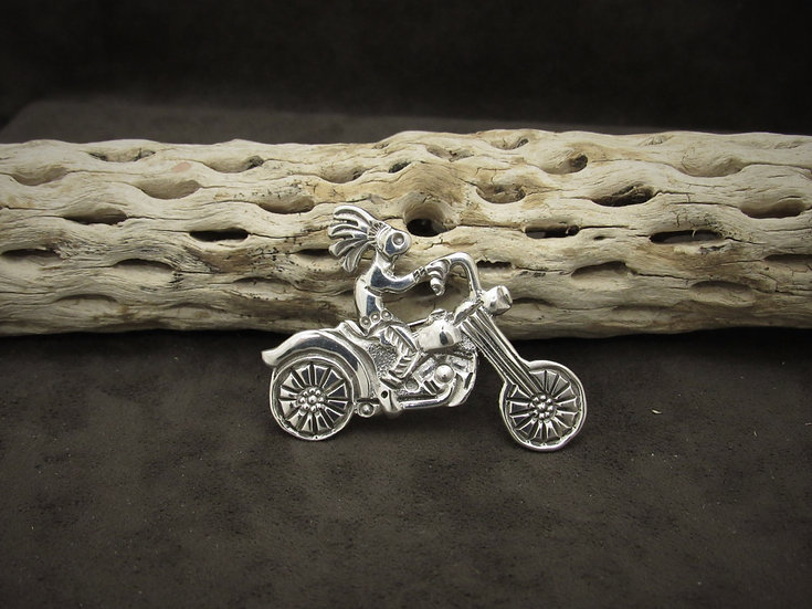 Sterling Silver Motorcycle Kokopelli Pin/Pendant