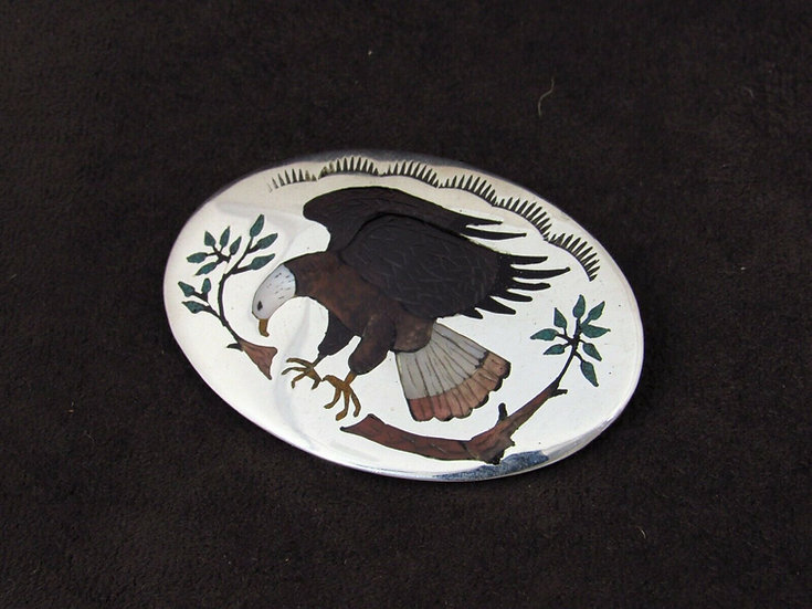 Sterling Silver Multi Stone Inlay Eagle Pin