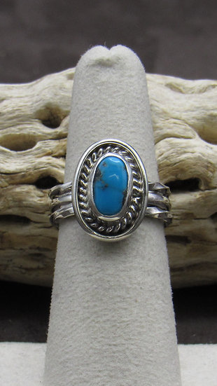 Turquoise and Sterling Silver Ring Size 6 1/2