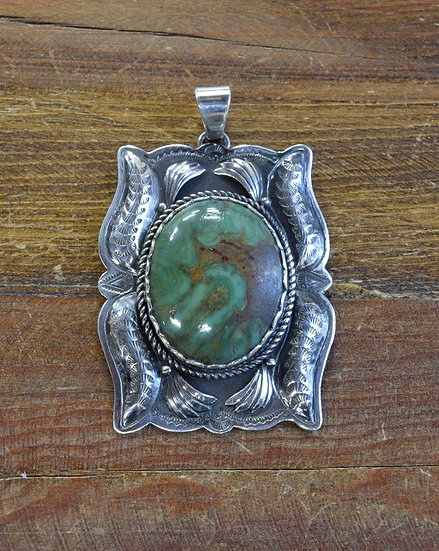 Large Vintage Sterling Silver Green Turquoise Pendant