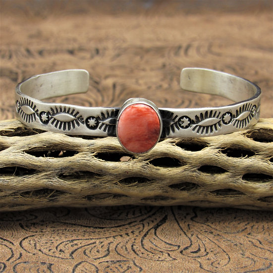 Navajo Sterling Silver Spiny Oyster Cuff Bracelet By Marcella James