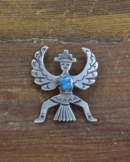 Navajo Cast Sterling Silver and Turquoise Knife Wing Pin