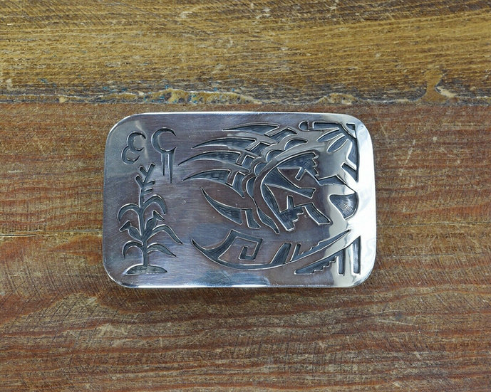 Navajo Sterling Silver Overlay Bear Paw Belt Buckle