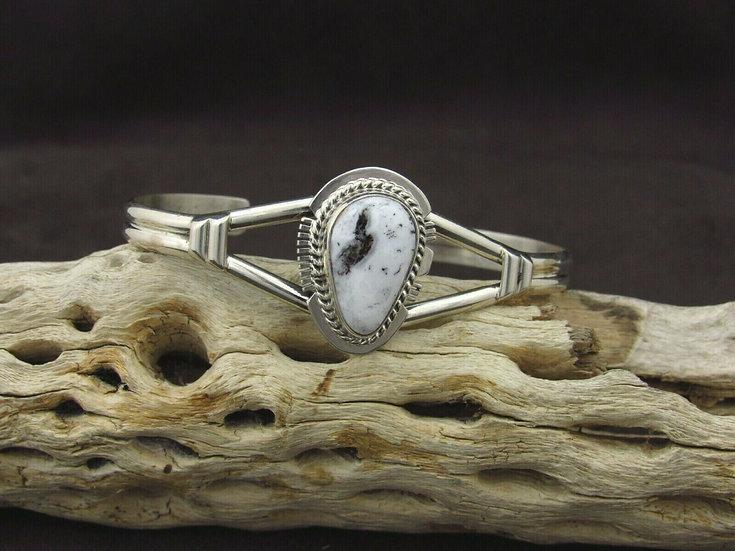 Sterling Silver Teardrop White Buffalo Cuff Bracelet