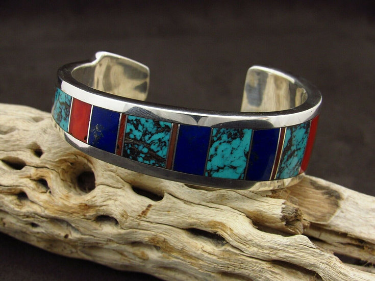 Sterling Silver Multi Stone Inlay Tapered Cuff Bracelet