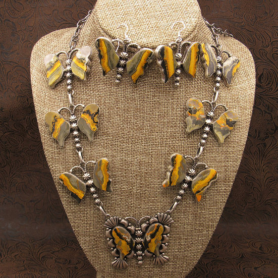 Navajo Sterling Silver Bumblebee Jasper Butterfly Necklace and Earring Set