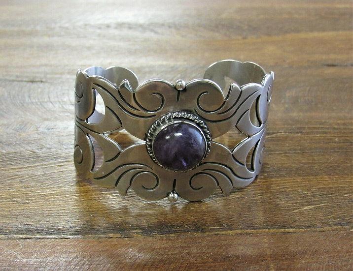 Vintage Mexican Amethyst Sterling Silver Cuff Bracelet