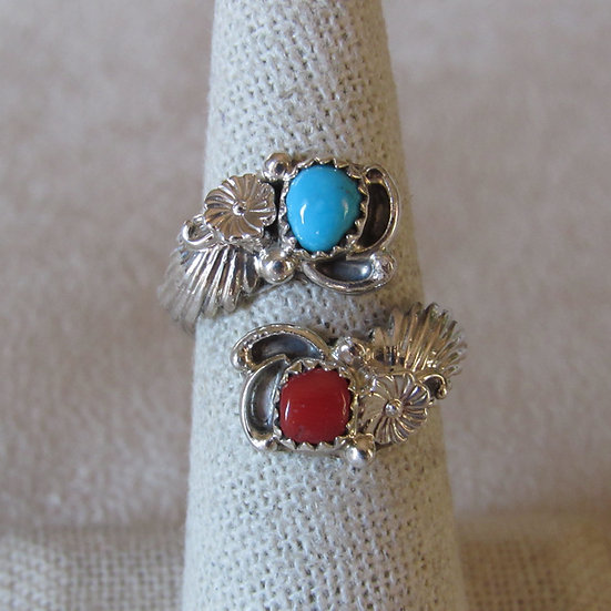Adjustable Southwest Sterling Silver and Coral Ring by Etta Belin