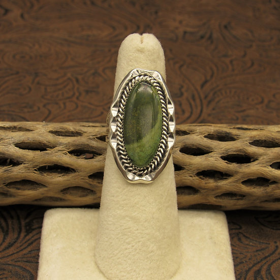 Southwest Sterling Silver and Green Turquoise Oval Ring Size 6 1/4