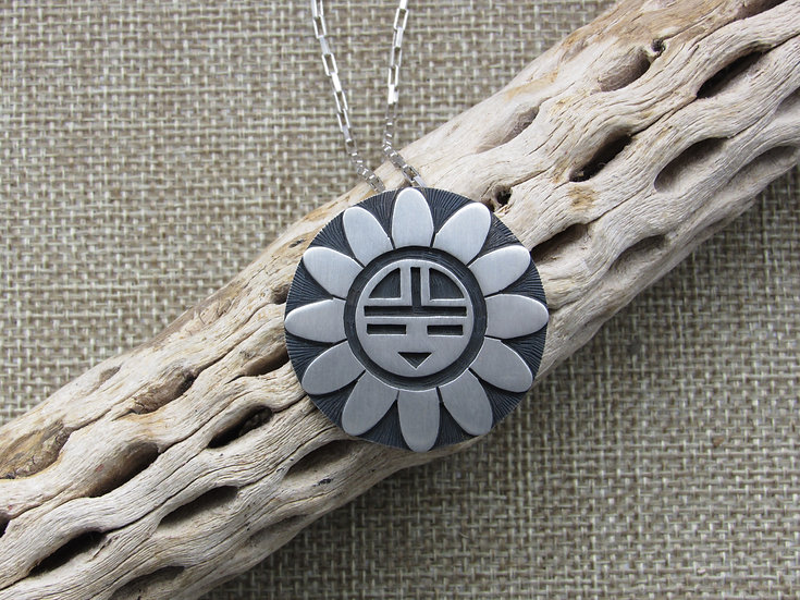 Sterling Silver Sun Kachina Mask Pendant on Chain Necklace
