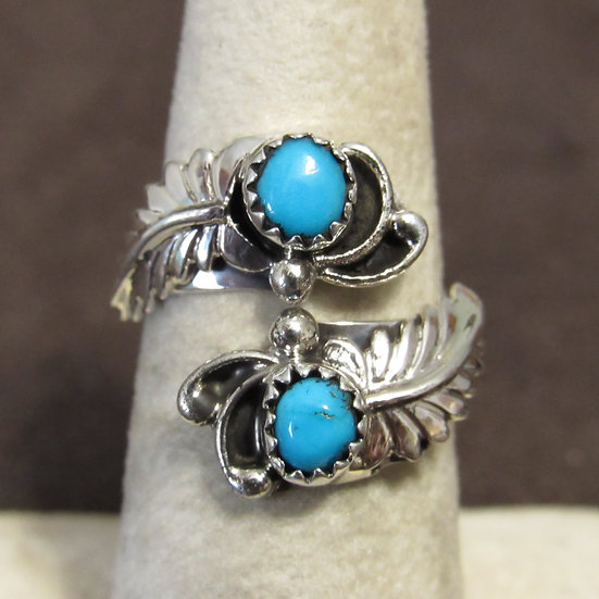 Navajo Etta Belin Sterling Silver and Turquoise Adjustable Ring