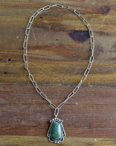 Handmade Sterling Silver Green Turquoise Pendant and Chain Necklace
