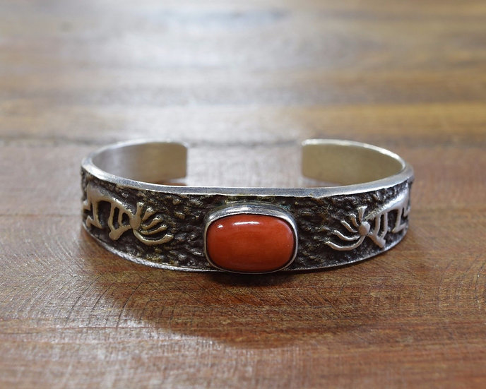 Vintage Sterling Silver and Coral Kokopelli Bracelet