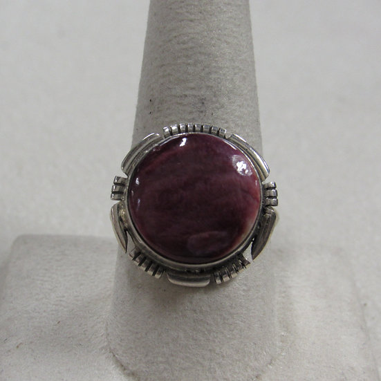 Sterling Silver and Purple Spiny Oyster Shell Ring Size 10