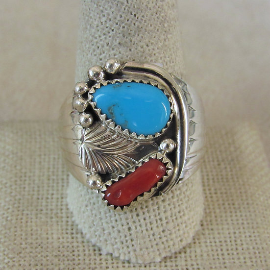 Men's Southwest Sterling Silver, Coral and Turquoise Ring Size 11.25