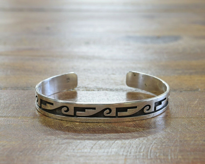 Hopi Sterling Silver Overlay Cuff Bracelet by Fermin Hawee