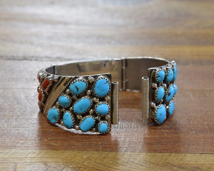 W Nez Navajo Sterling Silver Coral and Turquoise Watch Bracelet