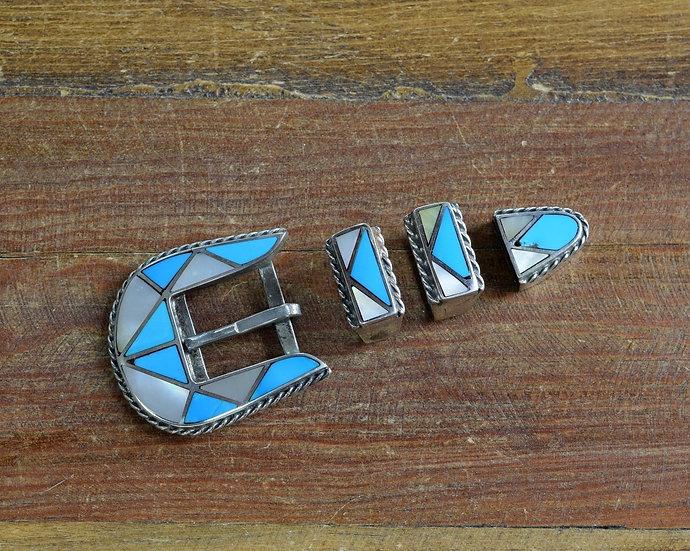 Vintage Southwest Turquoise Inlay Sterling Silver Ranger Set