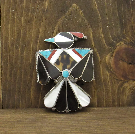 Vintage Zuni Thunderbird Inlay Sterling Silver Pin