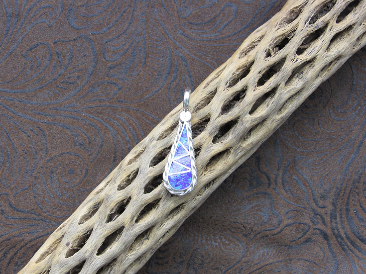 Southwestern Sterling Silver and Lab Opal Inlay Pendant