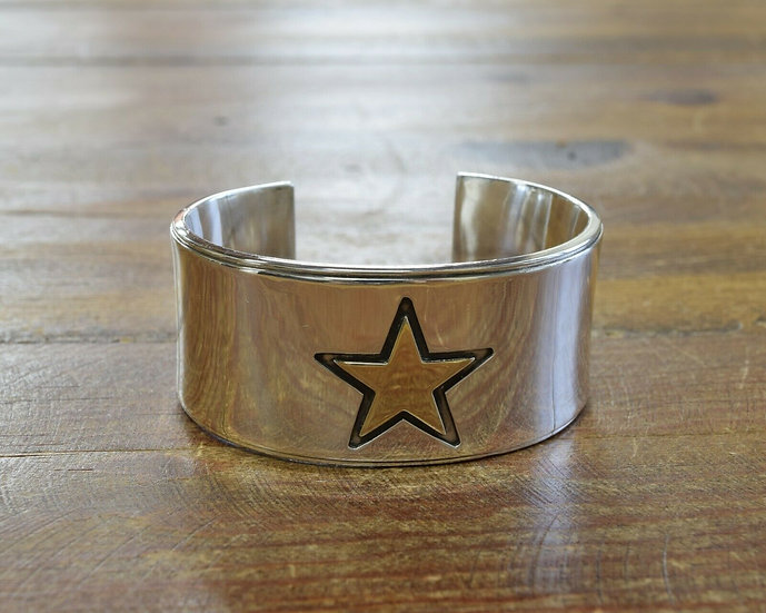 Southwestern Sterling Silver and 14K Gold Star Cuff Bracelet by Edward Baird