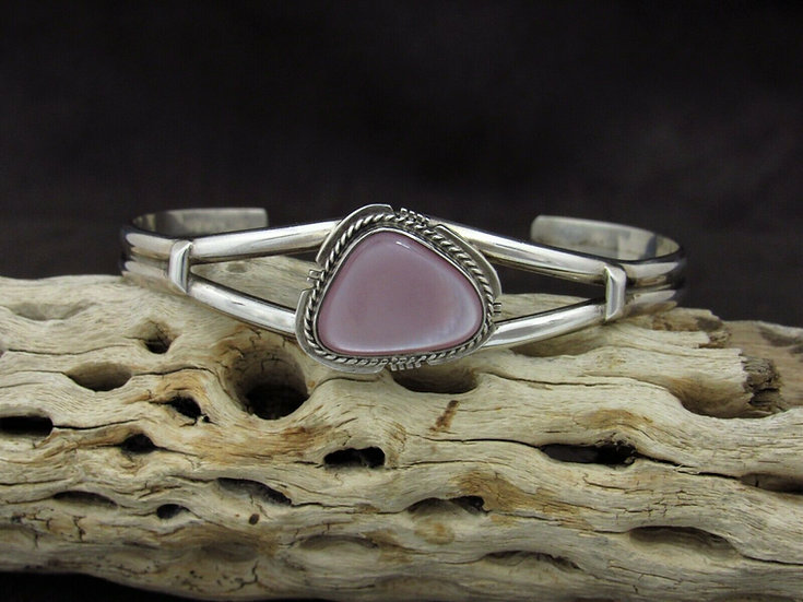 Sterling Silver Pink Mussel Shell Cuff Bracelet