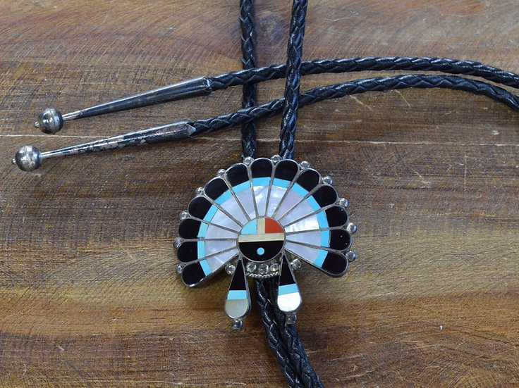 Vintage Zuni Sterling Silver Sun Face Inlay Bolo Tie