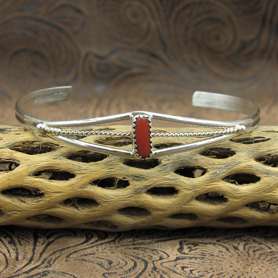 Sterling Silver Rectangle Coral Cuff Bracelet