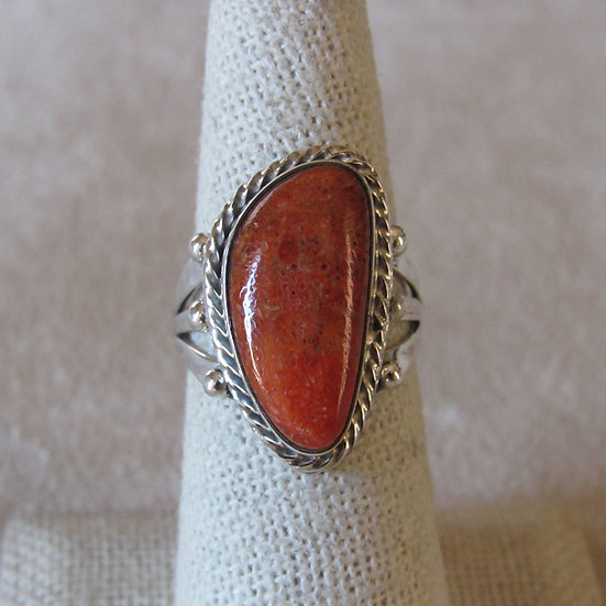 Sponge Coral and Sterling Silver Size 7.25 Ring by Mark Barney