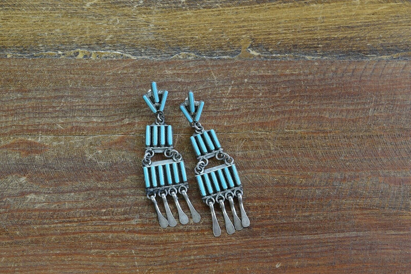 Vintage Sterling Silver Turquoise Chandelier Earrings