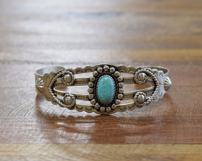 Bell Silver Fred Harvey Style Turquoise Bracelet