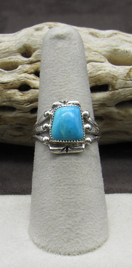 Navajo Made Sterling Silver and Turquoise Ring Size 7 1/4