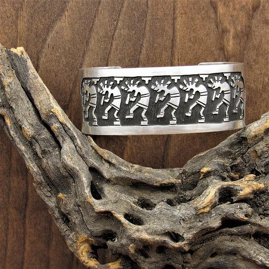 Vintage Sterling Silver Overlay Kokopelli Cuff Bracelet