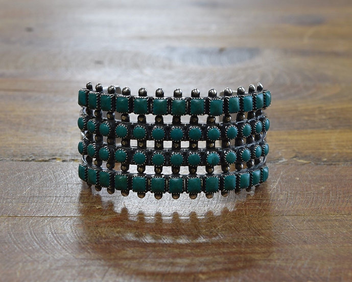 Vintage Fred Harvey Era Sterling Silver and Faux Turquoise 4-Row Cuff Bracelet